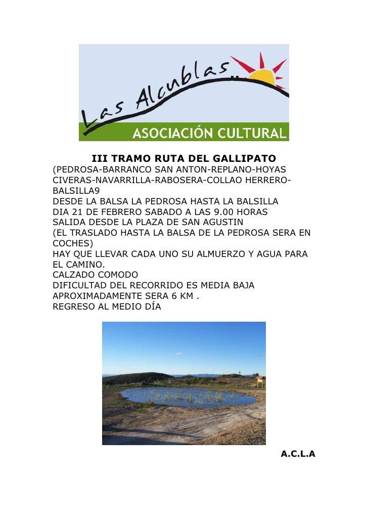 III TRAMO RUTA DEL GALLIPATO (PEDROSA-BARRANCO SAN ANTON-REPLANO-HOYAS CIVERAS-NAVARRILLA-RABOSERA-COLLAO HERRERO- BALSILL...