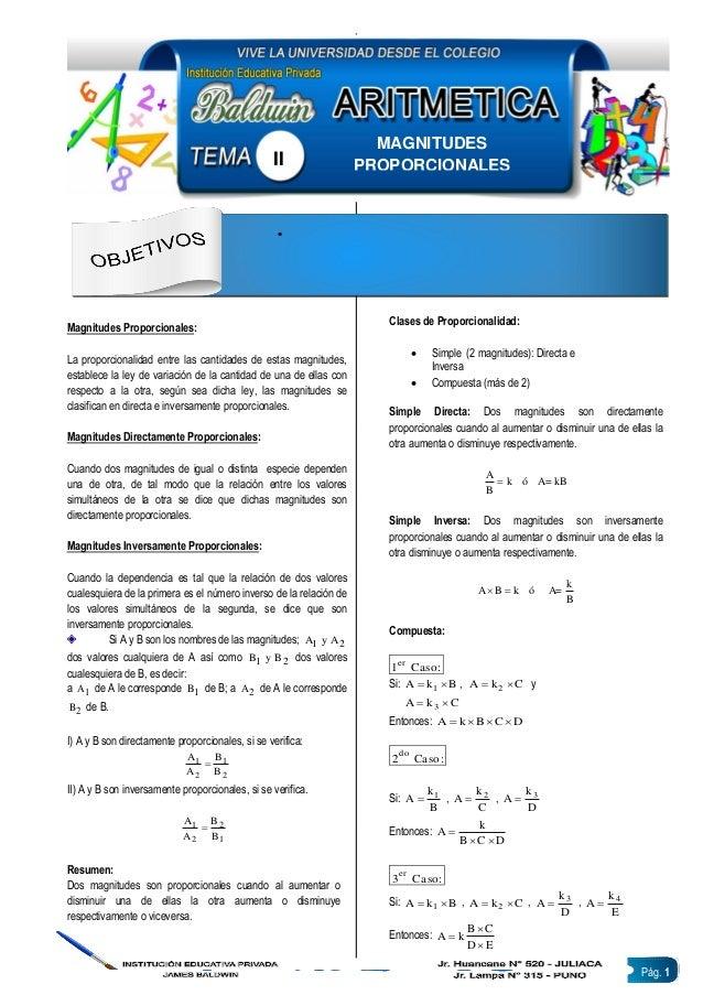 Pág. 1 Magnitudes Proporcionales: La proporcionalidad entre las cantidades de estas magnitudes, establece la ley de variac...
