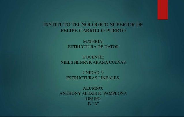 INSTITUTO TECNOLOGICO SUPERIOR DE  FELIPE CARRILLO PUERTO  MATERIA:  ESTRUCTURA DE DATOS  DOCENTE:  NIELS HENRYK ARANA CUE...