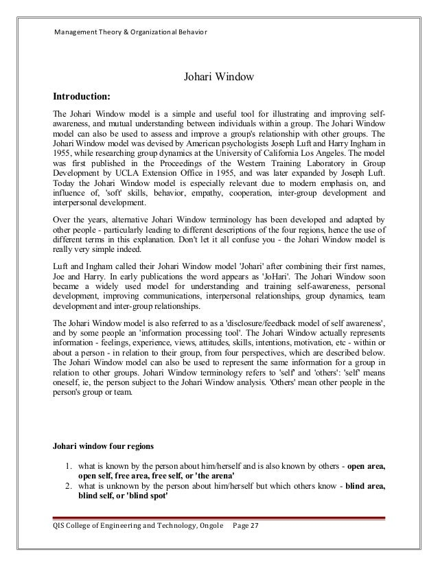 jahari window essay Johari window essays: over 180,000 johari window essays, johari window term papers, johari window research paper, book reports 184 990 essays, term and research papers available for unlimited access.