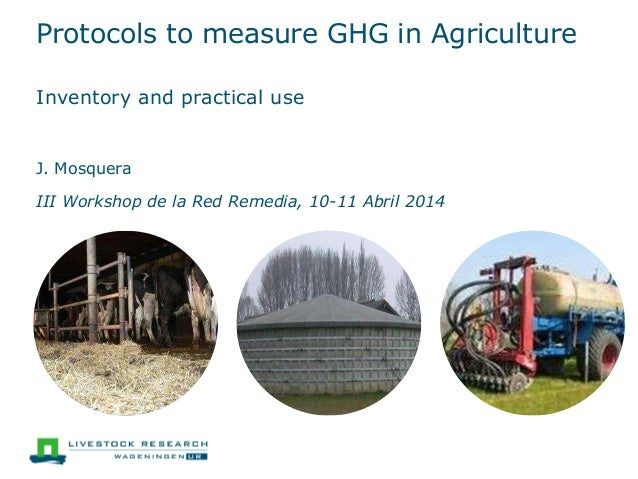 Protocols to measure GHG in Agriculture Inventory and practical use J. Mosquera III Workshop de la Red Remedia, 10-11 Abri...