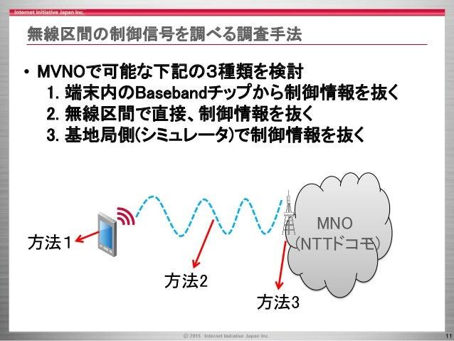 11 無線区間の制御信号を調べる調査手法 • MVNOで可能な下記の3種類を検討 1. 端末内のBasebandチップから制御情報を抜く 2. 無線区間で直接、制御情報を抜く 3. 基地局側(シミュレータ)で制御情報を抜く MNO (NTTドコ...