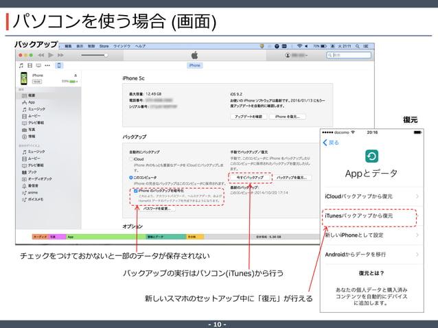 ‐ 10 ‐ パソコンを使う場合 (画面) チェックをつけておかないと一部のデータが保存されない バックアップの実行はパソコン(iTunes)から行う 新しいスマホのセットアップ中に「復元」が行える バックアップ 復元