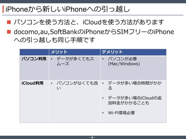 ‐ 8 ‐ iPhoneから新しいiPhoneへの引っ越し  パソコンを使う方法と、iCloudを使う方法があります  docomo,au,SoftBankのiPhoneからSIMフリーのiPhone への引っ越しも同じ手順です メリット ...