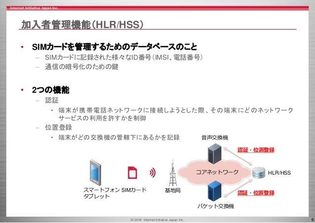 © 2016 Internet Initiative Japan Inc. 6 加入者管理機能(HLR/HSS) • SIMカードを管理するためのデータベースのこと – SIMカードに記録された様々なID番号(IMSI、電話番号) – 通信の暗...