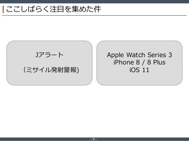 ‐ 3 ‐ ここしばらく注目を集めた件 Jアラート (ミサイル発射警報) Apple Watch Series 3 iPhone 8 / 8 Plus iOS 11