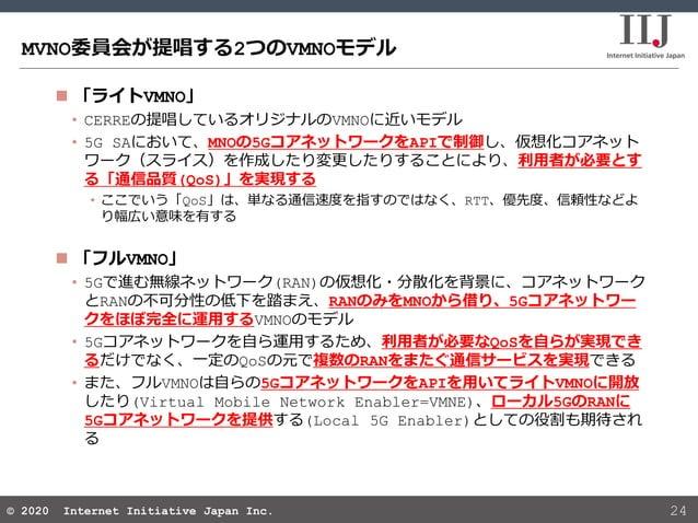 © 2020 Internet Initiative Japan Inc.© 2020 Internet Initiative Japan Inc. MVNO委員会が提唱する2つのVMNOモデル 24  「ライトVMNO」 • CERREの提...