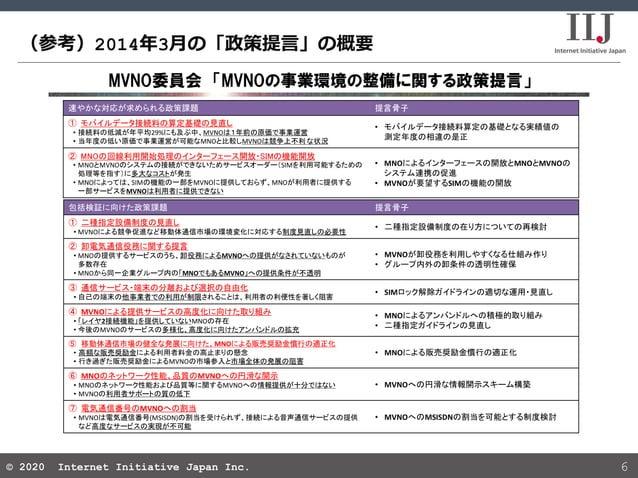 © 2020 Internet Initiative Japan Inc.© 2020 Internet Initiative Japan Inc. (参考)2014年3月の「政策提言」の概要 6