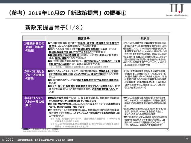 © 2020 Internet Initiative Japan Inc.© 2020 Internet Initiative Japan Inc. (参考)2018年10月の「新政策提言」の概要① 7 新政策提言骨子 1/3 3 提言骨子 現...