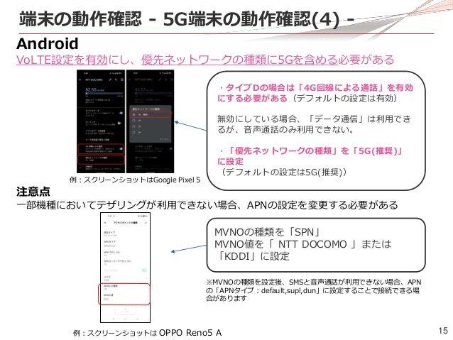 15 端末の動作確認 - 5G端末の動作確認(4) - Android VoLTE設定を有効にし、優先ネットワークの種類に5Gを含める必要がある ・タイプDの場合は「4G回線による通話」を有効 にする必要がある(デフォルトの設定は有効) 無効に...