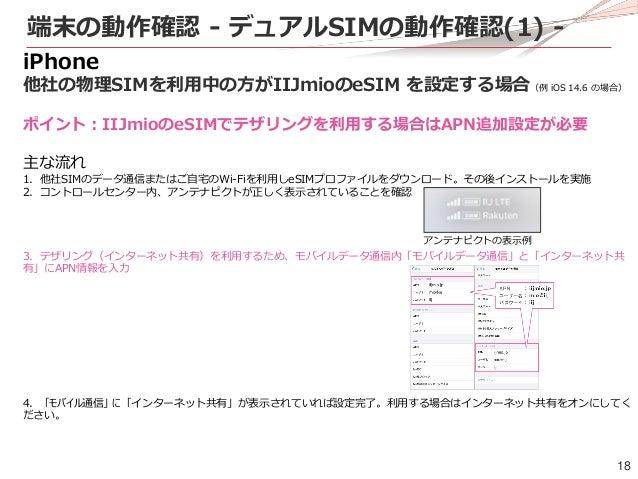 18 端末の動作確認 - デュアルSIMの動作確認(1) - iPhone 他社の物理SIMを利用中の方がIIJmioのeSIM を設定する場合(例 iOS 14.6 の場合) ポイント:IIJmioのeSIMでテザリングを利用する場合はAPN...