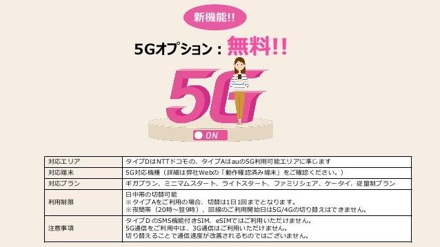 5Gオプション:無料!! 新機能!! 対応エリア タイプDはNTTドコモの、タイプAはauの5G利用可能エリアに準じます 対応端末 5G対応機種(詳細は弊社Webの「動作確認済み端末」をご確認ください。) 対応プラン ギガプラン、ミニマムスター...