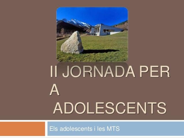 II JORNADA PER A ADOLESCENTS Els adolescents i les MTS