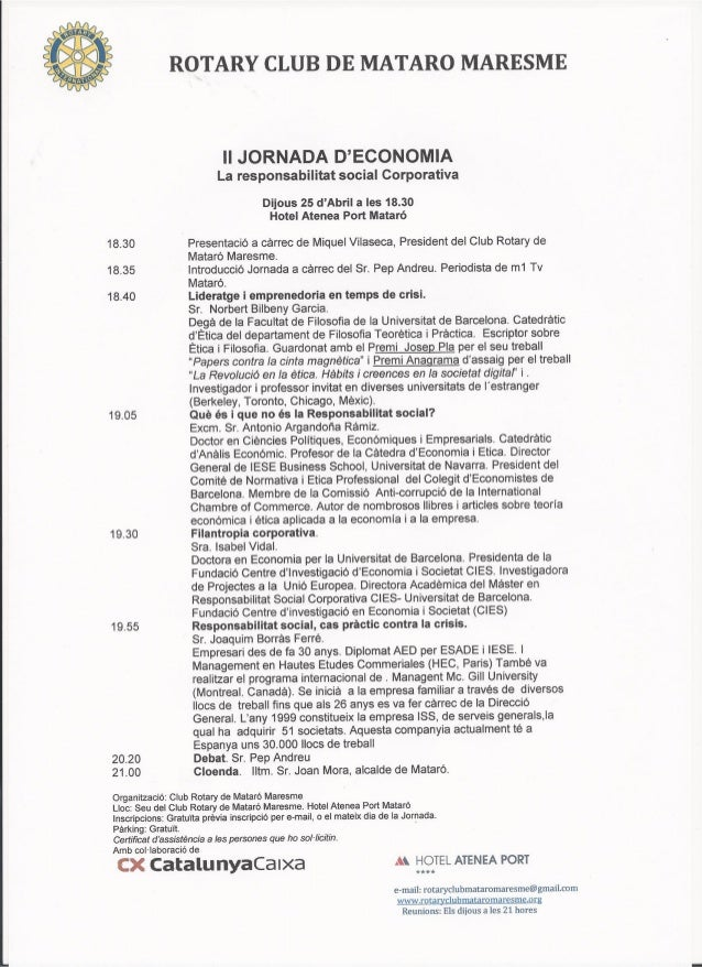 "II Jornada de economia ""La Responsabilidad Social Corporativa"""