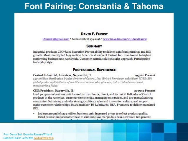 correct font for resumes