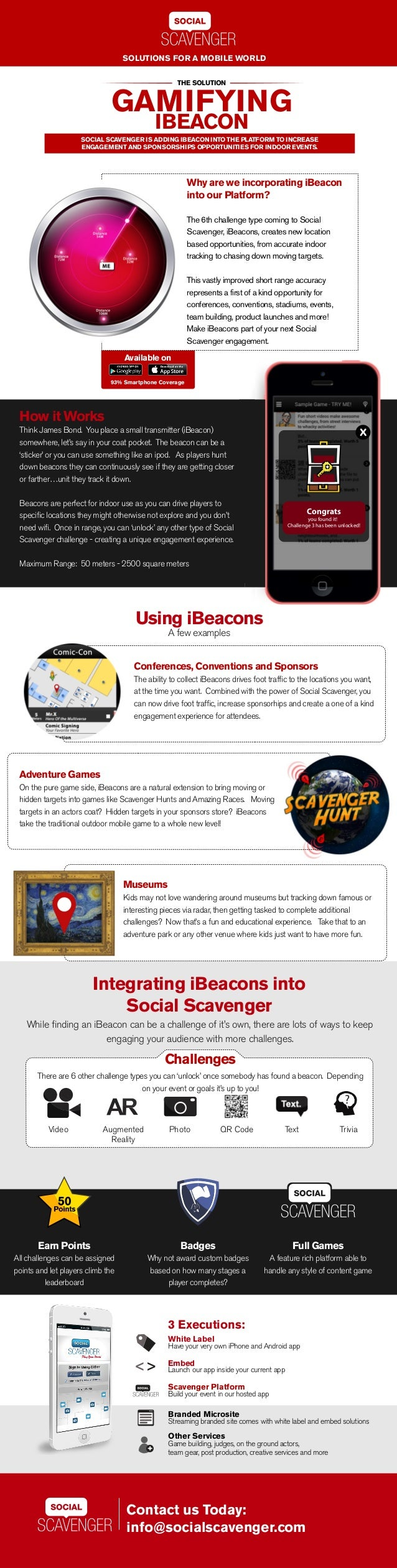 SOLUTIONS FOR A MOBILE WORLD  THE SOLUTION  GAMIFYING  IBEACON  SOCIAL SCAVENGER IS ADDING IBEACON INTO THE PLATFORM TO IN...