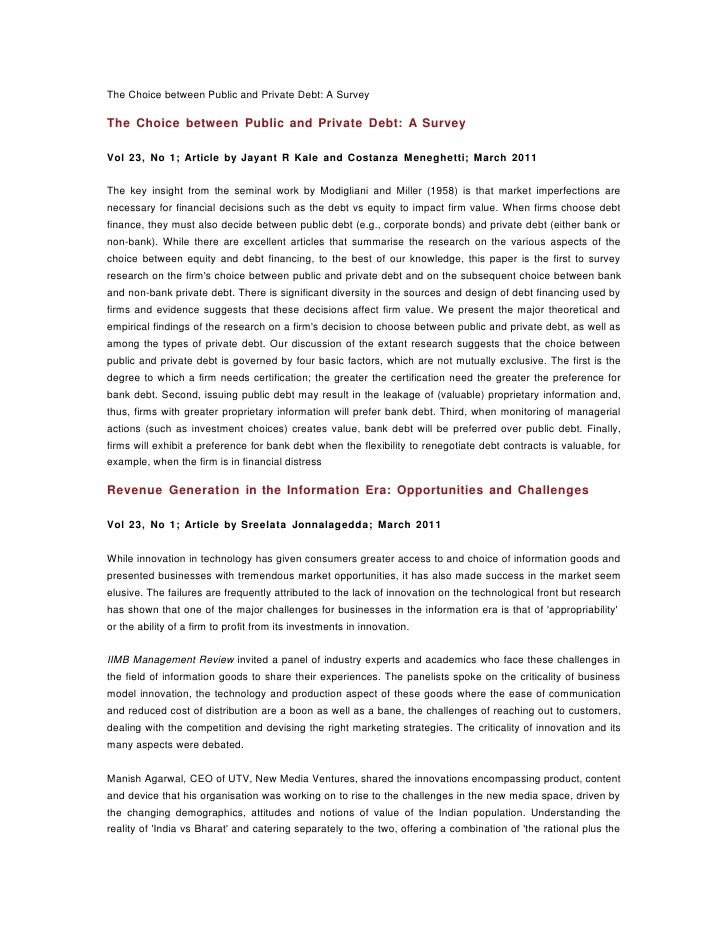 The Choice between Public and Private Debt: A SurveyThe Choice between Public and Private Debt: A SurveyVol 23, No 1; Arti...