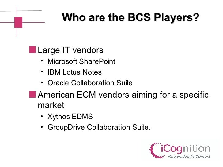 Who are the BCS Players? <ul><li>Large IT vendors </li></ul><ul><ul><li>Microsoft SharePoint </li></ul></ul><ul><ul><li>IB...