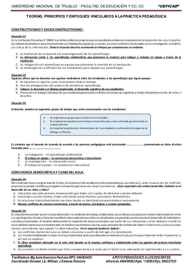 """UNIVERSIDAD NACIONAL DE TRUJILLO - FACULTAD DE EDUCACIÓN Y CC. CC """"CEFICAD"""" Facilitadora:Mg.IselaGuerrero Pacheco RPC 9442..."""