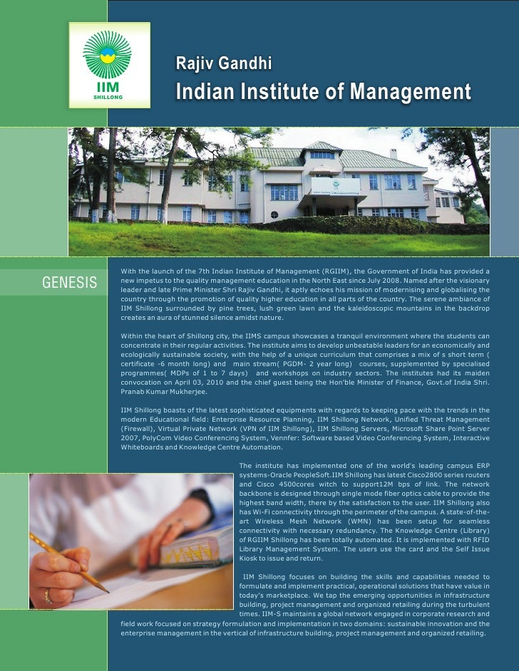 Rajiv Gandhi       IIM       SHILLONG               Indian Institute of Management                  With the launch of the...