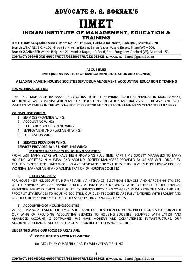 AdvocAte b. r. bornAk's IIMet INDIAN INSTITUTE OF MANAGEMENT, EDUCATION & TRAINING H.O DADAR: Gangadhar Niwas, Room No. 27...
