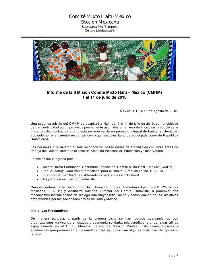 Comité Mixto Haití-México                                Sección Mexicana                                Secretaría Pro-Te...