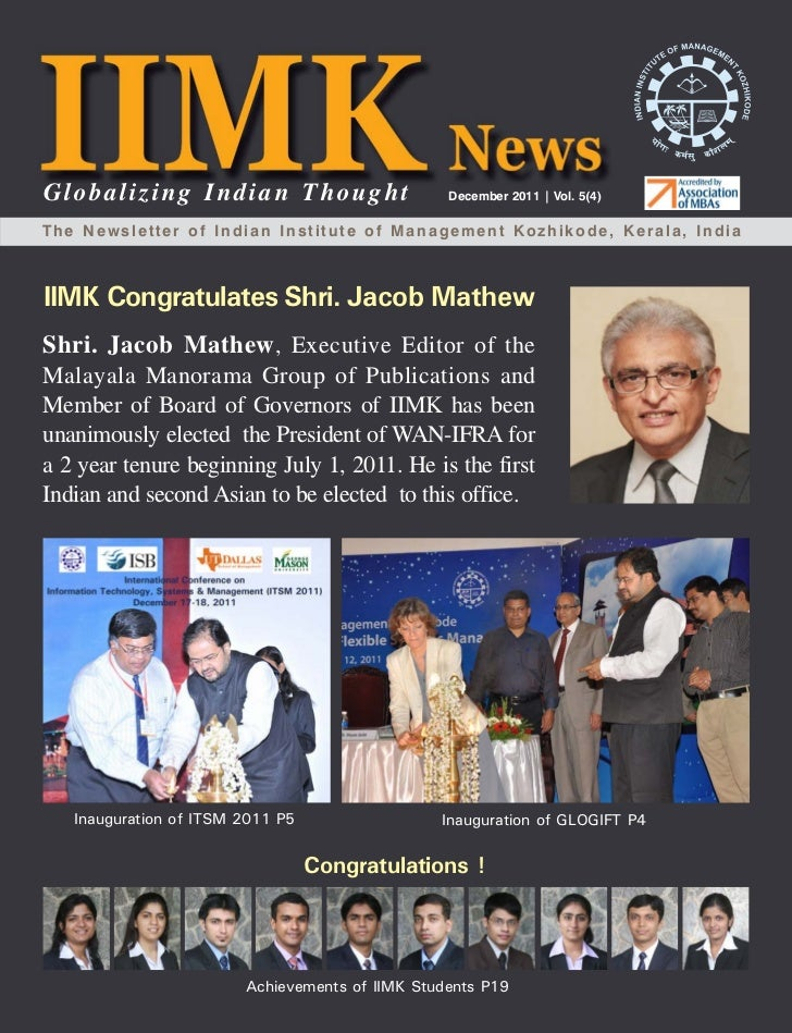 Globalizing Indian Thought                      December 2011 | Vol. 5(4)The Newsletter of Indian Institute of Management ...