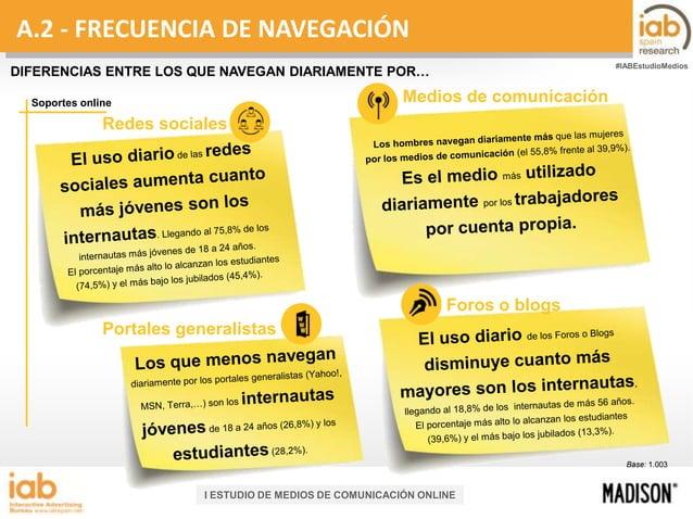 A.2 - FRECUENCIA DE NAVEGACIÓN #IABEstudioMedios  DIFERENCIAS ENTRE LOS QUE NAVEGAN DIARIAMENTE POR…  Medios de comunicaci...