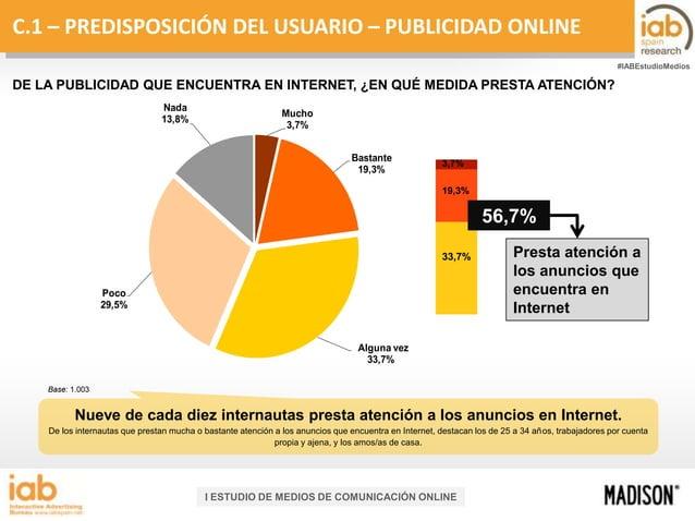 C.1 – PREDISPOSICIÓN DEL USUARIO – PUBLICIDAD ONLINE #IABEstudioMedios  DE LA PUBLICIDAD QUE ENCUENTRA EN INTERNET, ¿EN QU...