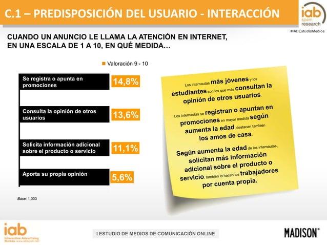 C.1 – PREDISPOSICIÓN DEL USUARIO - INTERACCIÓN #IABEstudioMedios  CUANDO UN ANUNCIO LE LLAMA LA ATENCIÓN EN INTERNET, EN U...
