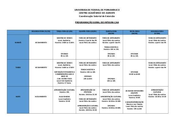 UNIVERSIDADE FEDERAL DE PERNAMBUCO CENTRO ACADÊMICO DO AGRESTE Coordenação Setorial de Extensão PROGRAMAÇÃO GERAL DO INTEG...
