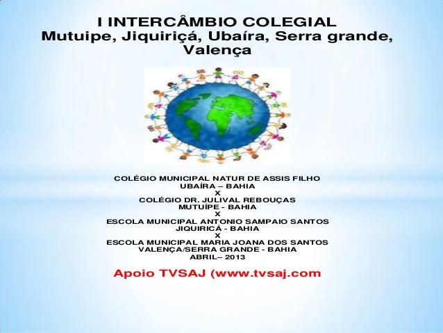 I INTERCÂMBIO COLEGIALMutuipe, Jiquiriçá, Ubaíra, Serra grande,                 Valença        COLÉGIO MUNICIPAL NATUR DE ...