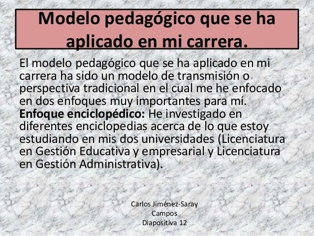 Modelo pedagógico que se ha aplicado en mi carrera. El modelo pedagógico que se ha aplicado en mi carrera ha sido un model...