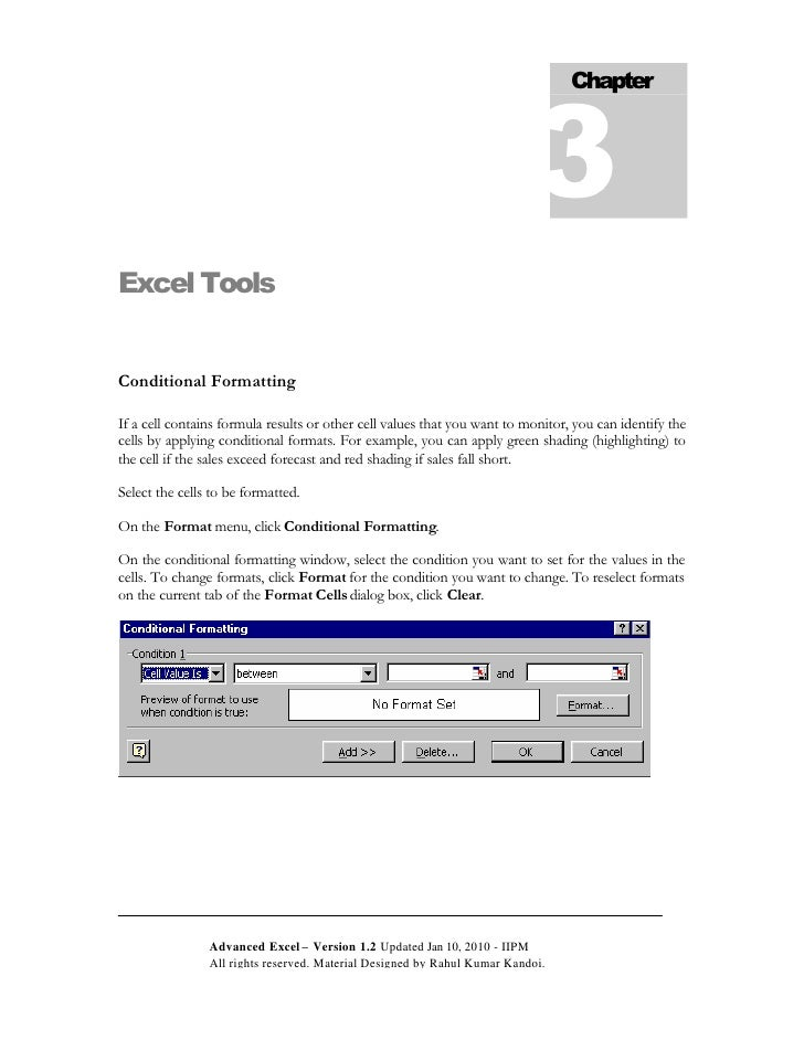 3                                                                                  Chapter     Excel Tools   Conditional F...