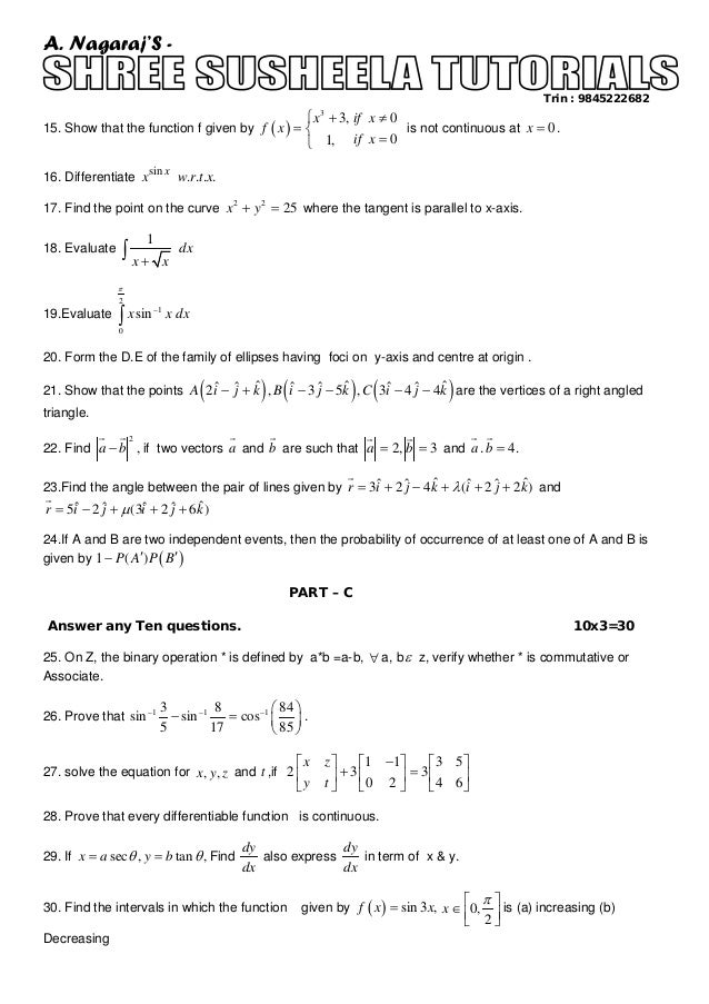 Ii puc class xii annual model paper of mathematics for 2014 2 malvernweather Image collections