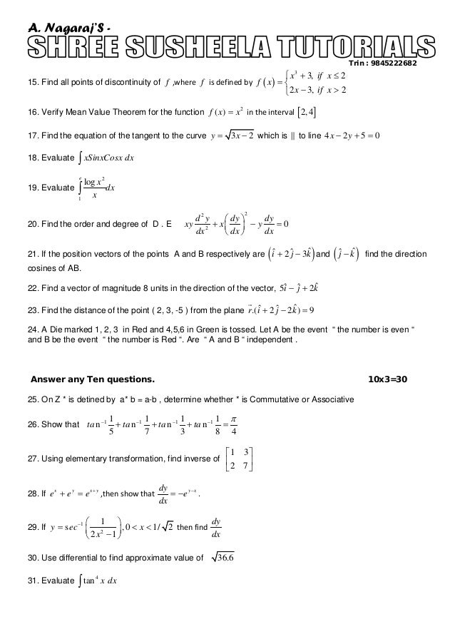 Ii puc mathematics annual model question paper for all science stud 2 malvernweather Images