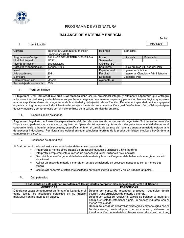 PROGRAMA DE ASIGNATURA                                       BALANCE DE MATERIA Y ENERGÍA                                 ...