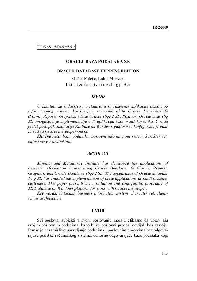 IR-2/2009     UDK681.5(045)=861:                     ORACLE BAZA PODATAKA XE               ORACLE DATABASE EXPRESS EDITION...