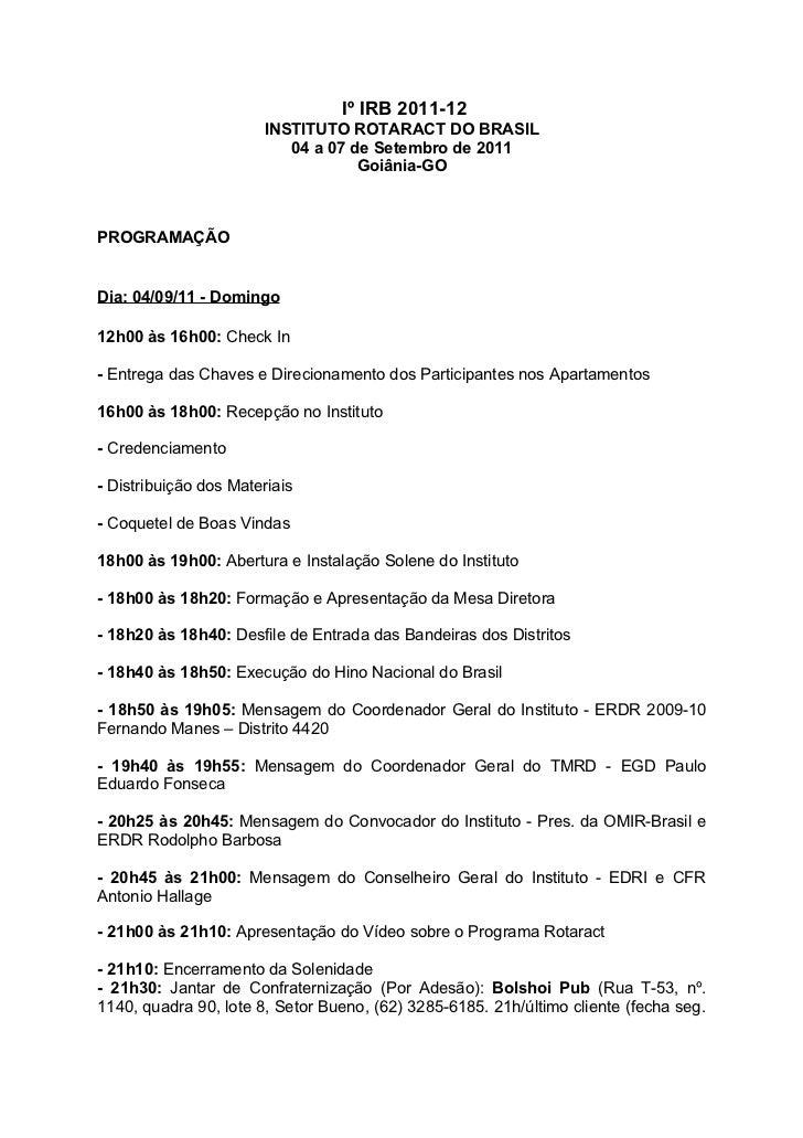 Programação do Iº Instituto Rotaract Brasil
