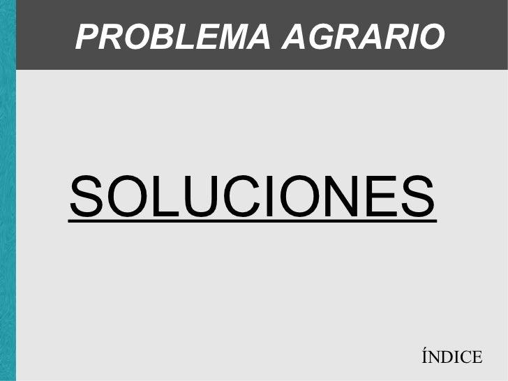 PROBLEMA AGRARIO SOLUCIONES ÍNDICE