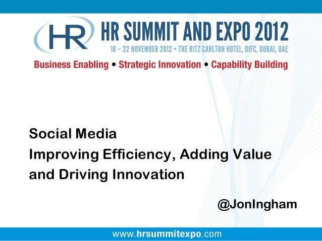 @JonIngham Social Media Improving Efficiency, Adding Value and Driving Innovation