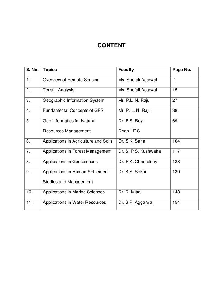CONTENTS. No. Topics                                  Faculty                Page No.1.     Overview of Remote Sensing    ...
