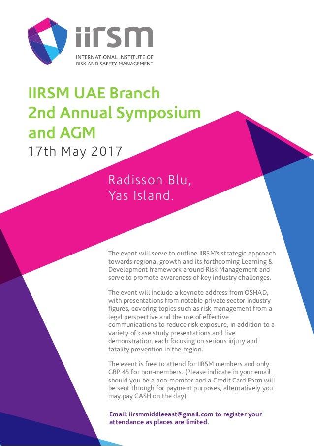 Iirsm Uae Branch 2nd Annual Symposium And Agm Invitation