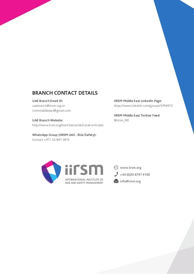 IIRSM UAE Branch Quarterly Newsletter - July to September 2017