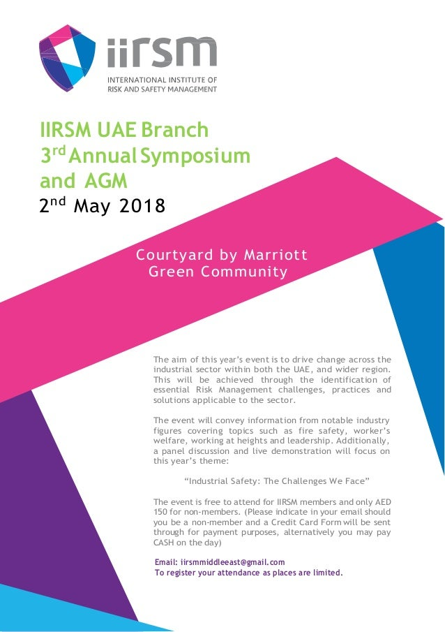 IIRSM UAE Branch 3rd Annual Branch Symposium Invitation May 2018