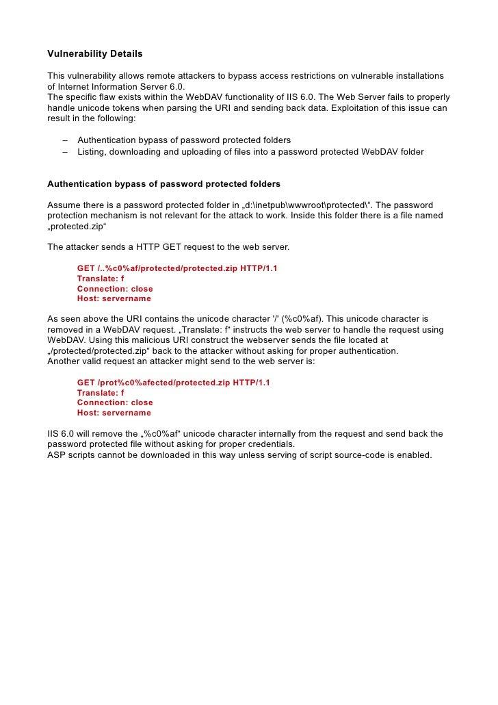 Microsoft IIS 6 0 WebDAV Remote Authentication Bypass