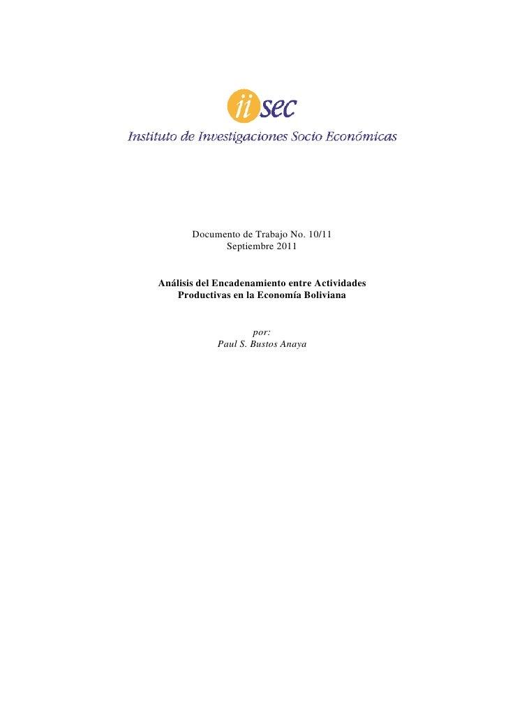 Documento de Trabajo No. 10/11             Septiembre 2011Análisis del Encadenamiento entre Actividades    Productivas en ...