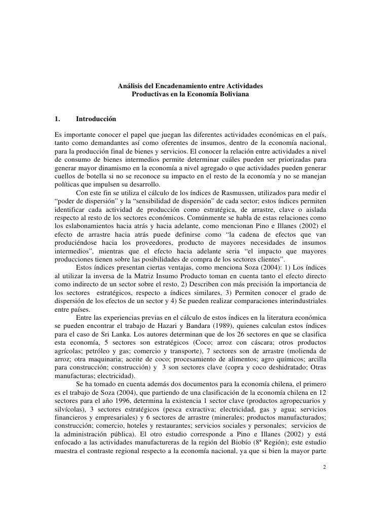 Análisis del Encadenamiento entre Actividades                          Productivas en la Economía Boliviana1.     Introduc...