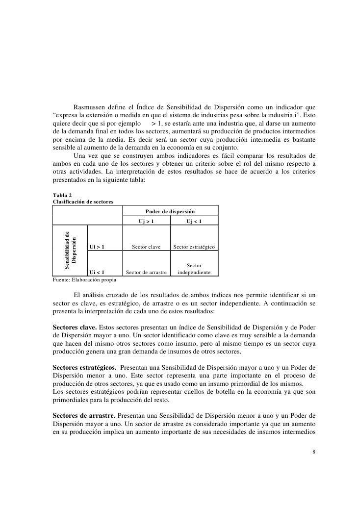 """Rasmussen define el Índice de Sensibilidad de Dispersión como un indicador que""""expresa la extensión o medida en que el sis..."""