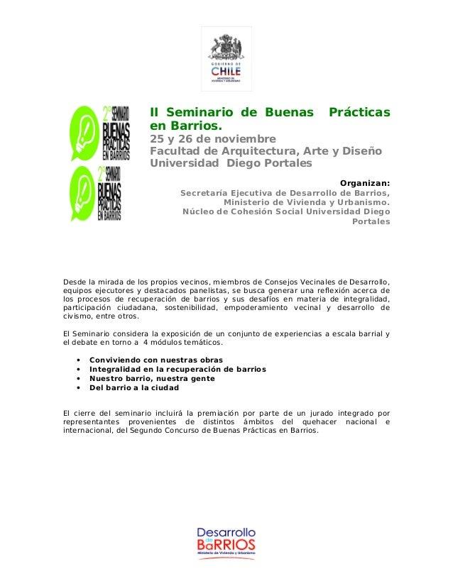 II Seminario de Buenas Prácticas en Barrios. 25 y 26 de noviembre Facultad de Arquitectura, Arte y Diseño Universidad Dieg...